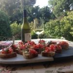Hors d'oeuvres with wine